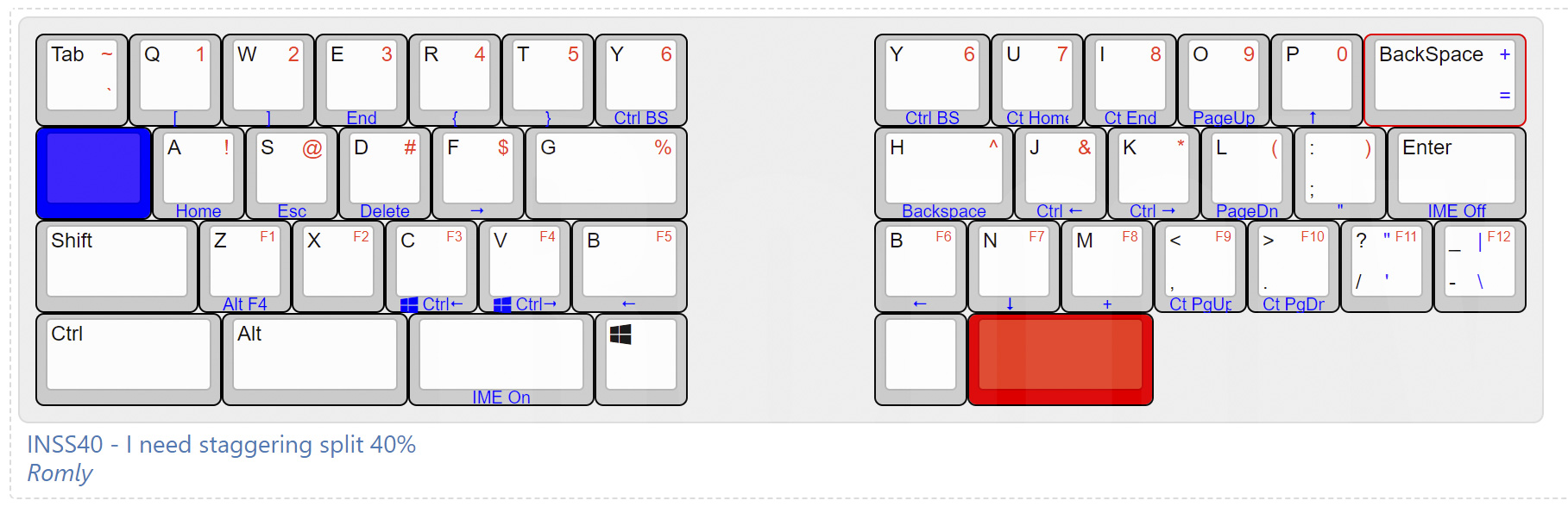 INSS40 Keyboard Layout