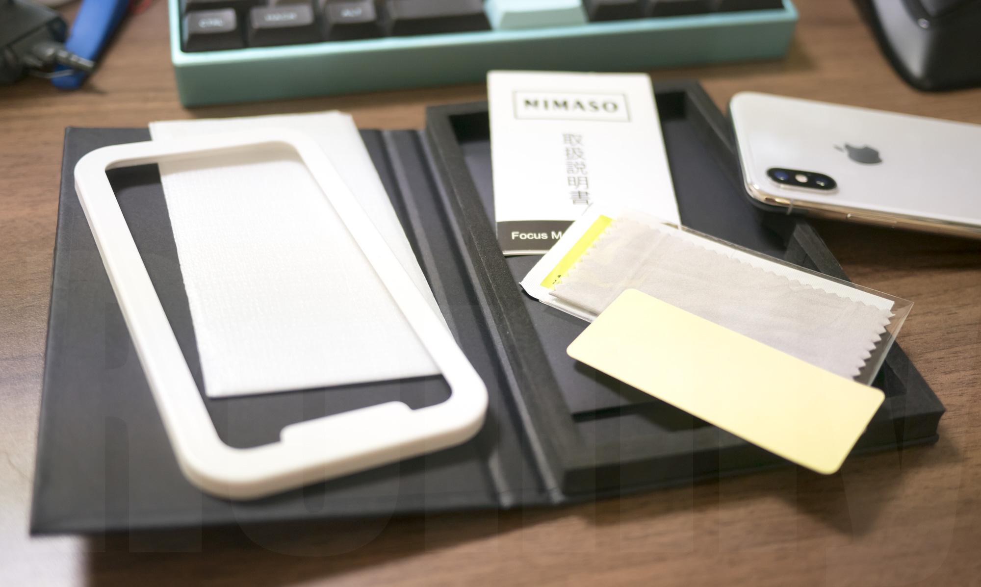NIMASO iPhone X 強化ガラス保護フィルム 同梱物