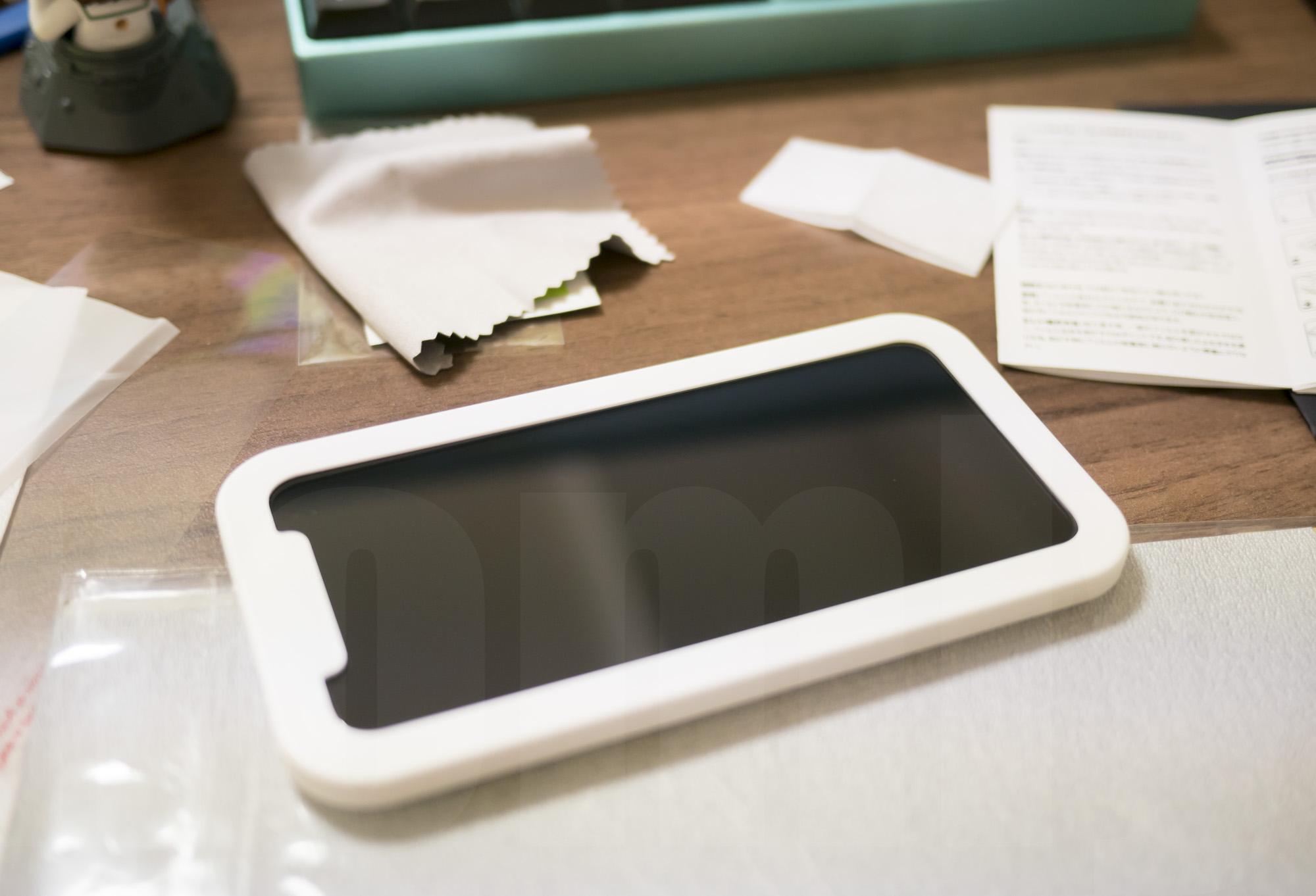 NIMASO iPhone X 強化ガラス保護フィルム 貼り付け作業