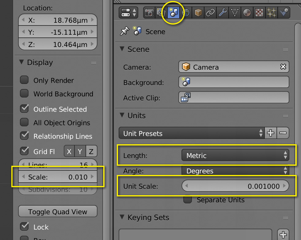 blender real size settings