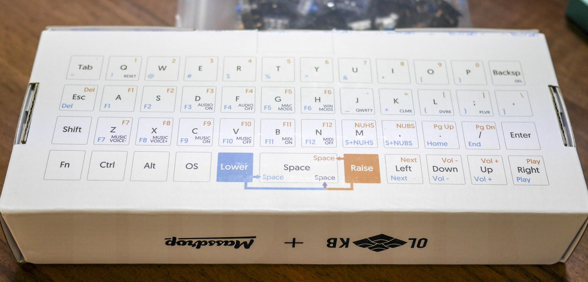 Planck Keyboard: パッケージ裏面
