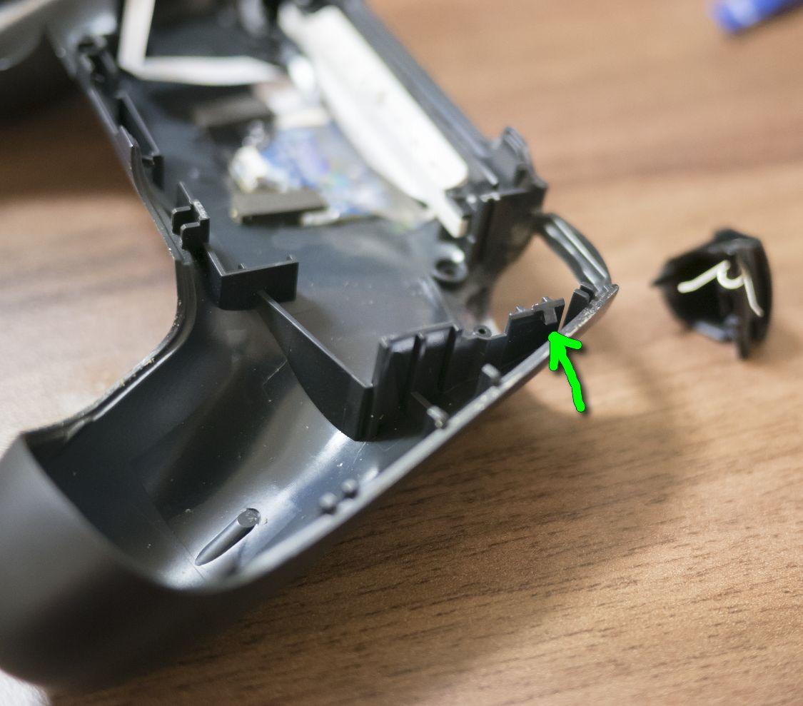 PS4コントローラー ツメ位置 横 裏側