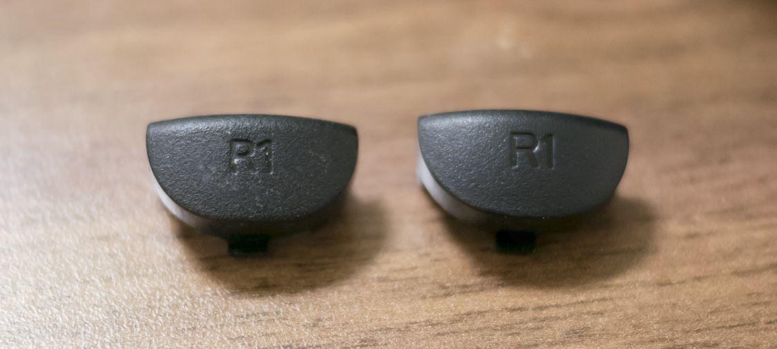 古いLRボタンと、交換用LRボタン4